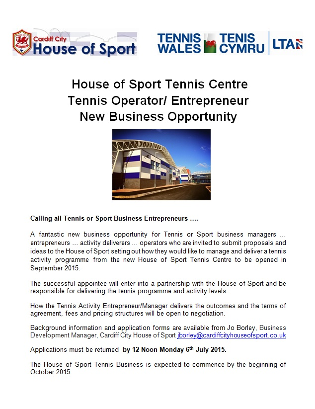 New Business Opportunity For Tennis Operators News Cardiff City